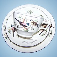 Souvenir Set A Gift From Strathaven Made for Johnstones Polytechnic Store ARCADIAN Cups Saucer Plate