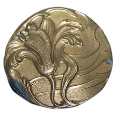 Vintage Nouveau Era Embossed Flower Floral Brass Button 1 1/4 inches Across
