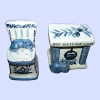 God Bless Our Home  Kitty Cat Puppy Dog Fire Place  Rocking  Chair Themed Salt Pepper Shakers