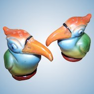 Hand Painted Vintage Toucan Bird Salt Pepper Spice Shakers Germany
