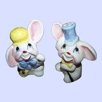 Mr & Mrs Floppy Eared Bunny Rabbit Salt & Pepper Spice Shakers  Japan