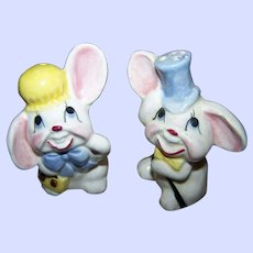Mr & Mrs Floppy Eared Bunny Rabbit Salt & Pepper Spice Shakers  Japan