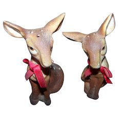 A Lovely Set of Vintage Ceramic Hand Painted  Fawns Deer Salt & Pepper Spice Shakers