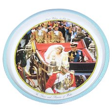Vintage Souvenir Tin Litho Tray Royal Wedding 29 July 1984 Prince & Princess of Wales