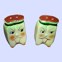 A Sweet  Set of Anthropomorphic  Banana Fruit Salt & Pepper Spice Shakers