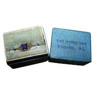 Decorative Old Cut Style Blue Stone 10K Gold Babies Ring in Original Box Bridgewater Nova Scotia