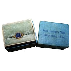 Decorative Old Cut Style Blue Stone 10K Gold Babies Ring in Original Box Bridgewater Nova Scotia