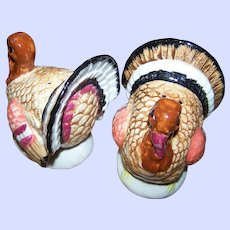 Large Range Style Painted Ceramic Figural Turkey Salt & Pepper Spice Shakers