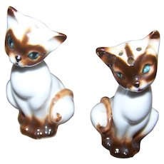 Tiny 2 Inch Tall Porcelain  Siamese Kitty Cat Salt & Pepper Spice Shakers Japan