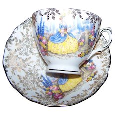 Vintage Crinoline  Lady  Tea Cup & Saucer Bone China Colcough Made in England