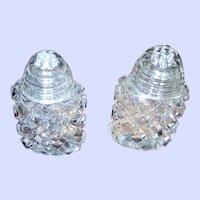 Vintge Crystal  Geometric  Cut Salt & Pepper Spice Shakers Glass Screw Style Caps