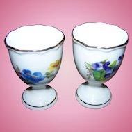 2 Vintage Porcelain Egg Cups Floral Themed  Western Germany