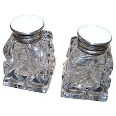 Sweet Faux MOP  Sterling Silver Rimmed Caps Crystal Salt & Pepper Shakers Stamped BR COS 925