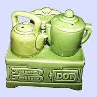 Sweet Figural Ceramic Dot Wood Stove Coffee Pot Kettle Salt Pepper Shaker Spice Set