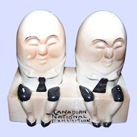 Souvenir Humpty Dumpty Ceramic Salt & Pepper Shakers Canadian National Exhibition
