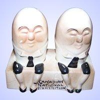 Souvenir Humpty Dumpty Ceramic Salt & Pepper Shakers Canadian National Exhibition