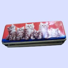 A Pretty Kitty Cat Themed Tin Litho Advertising VTG  Thorne's Toffee Tin Leeds England