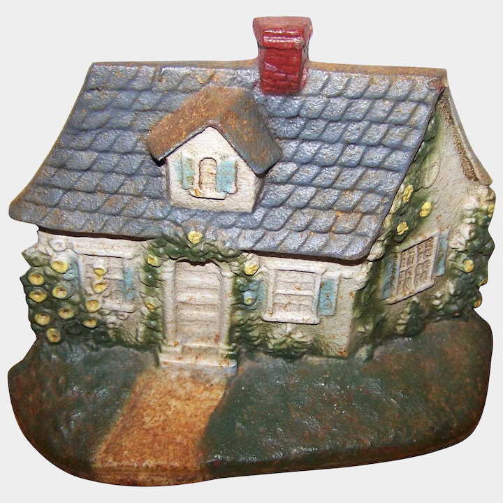 Heavy Painted Cast Iron Cottage Themed Door Stop John Wright USA  Victoriau0027s Purrrrfect Treasures | Ruby Lane & Heavy Painted Cast Iron Cottage Themed Door Stop John Wright USA ...