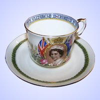 Aynsley Bone China Souvenir Tea Cup Saucer Coronation Queen Elizabeth II 1953