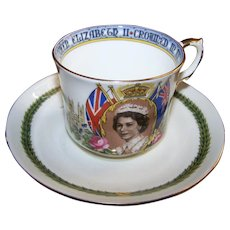 Aynsley Bone China Souvenir Tea Cup Saucer Coronation Queen Elizabeth II 1953