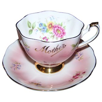 Queen Anne  Bone China England MOTHER Floral Tea Cup Saucer Set