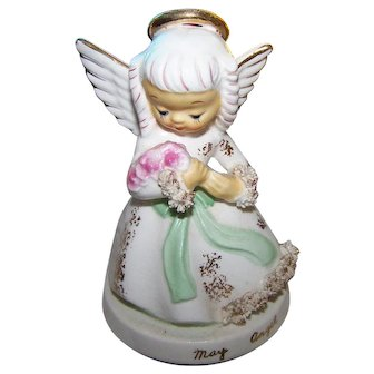 Vintage Ceramic  Collectible May Birthday Angel Figurine  S405
