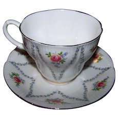 Royal Albert Bone China Teacup & Saucer Set Minuet Floral Theme