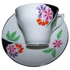Hand Painted Orange Pink Purple Flower Decorated Rosina  Bone China MI England Teacup / Tea Cup & Saucer