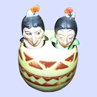Novelty Indian Native American Nodder Salt & Pepper Shaker in Barrel Souvenir of Canada Yarmouth