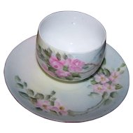 What A Beautiful Hand Painted Floral Themed Tea Cup & Saucer Set