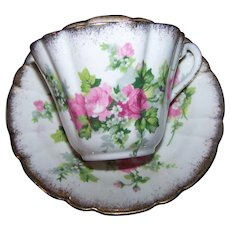 Pretty Glastone Bone China England Pink Rose Floral Tea Cup / Teacup & Saucer Set