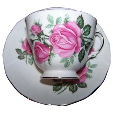 Pretty Pink Rose Flower  Pattern Teacup / Tea Cup & Saucer  Royal Vale  Made in England