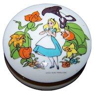 Vintage Porcelain  Alice in Wonderland Footed Trinket Covered Dish Walt Disney Productions