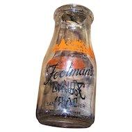 1/2 Pint Advertising Milk Bottle FOOTMAN'S Dairy INC Bangor Brewer
