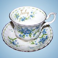 Royal Albert Bone China England July  Flower of the Month Series Forget-Me-Not Tea Cup & Saucer Set