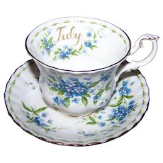 Royal Albert Bone China England June  Flower of the Month Series Forget-Me-Not Tea Cup & Saucer Set