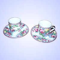 Sweet Demi-Tasse Rose Floral Themed Cup & Saucer Sets  LTR Fine Porcelain Japan