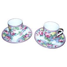 Sweet Demi-Tasse Rose Floral Themed Cup & Saucer Sets  LTR Fine Porcelain Japan