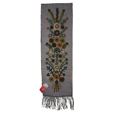 Hand Made Stitched Decorative Wool  Wall Hanging Floral Theme Mankowianka  Cepelia 1984