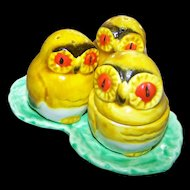 Cheerful & Colorful Small Majolica Style Condiment Set Leaf Owl