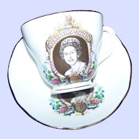 Queen Elizabeth II Silver Jubilee Tea Cup & Saucer Set Liverpool Pottery MI England