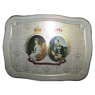 Tin Litho Historical Royalty Tray Queen Elizabeth II The Queen's Silver Jubilee