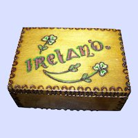 Small Wood Souvenir Hinged Box Pyography Painted IRELAND Clover