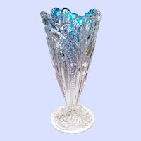 Pretty 7 Inch EAPG  Clear Glass Flower  Trumpet Shaped Bud Vase Home Decor Accent