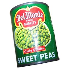 Small  Empty Collectible 3 Inch Advertising Tin Litho Can Del-Monte Sweet Peas
