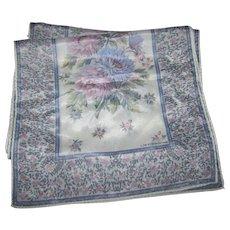 Lovely Delicate Rectangular Designer Signed Liz Claiborne Silk Scarf Floral Theme