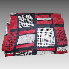 Lovely Long Rectangular Silk Scarf  Red White Black