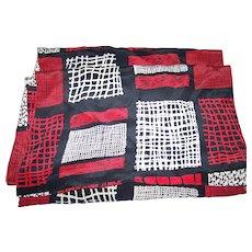Lovely Long Rectangular Silk Scarf  Red White Black