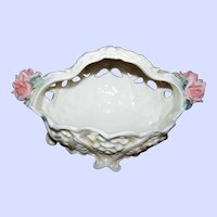 Vintage  KARL ENS VOLKSTEDT Porcelain Basket with Applied Roses