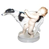 Beautiful ROSENTHAL Figurine Statue   Cherub Putto with  Borzoi Hound Dog